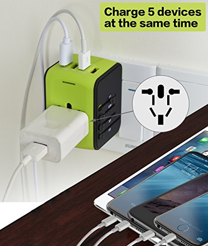 Universal Power Adapter Worldwide Wall Outlet AC Plug 4 USB Charging Ports with 3.4A Smart Power, All in One International Travel Adapter for US UK EU AUST Cell Phone Tablet Laptop Safety Fused, Blue by Poppin Kicks (Image #3)