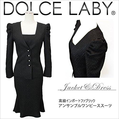 (ドルチェルビ) DOLCE LABY 黒アンサンブル ワンピーススーツ レディーススーツ B019EPV6H2 ジャケット-ワンピース:03号-01号|ジャケット裏地:生地同色 ジャケット裏地:生地同色 ジャケット-ワンピース:03号-01号