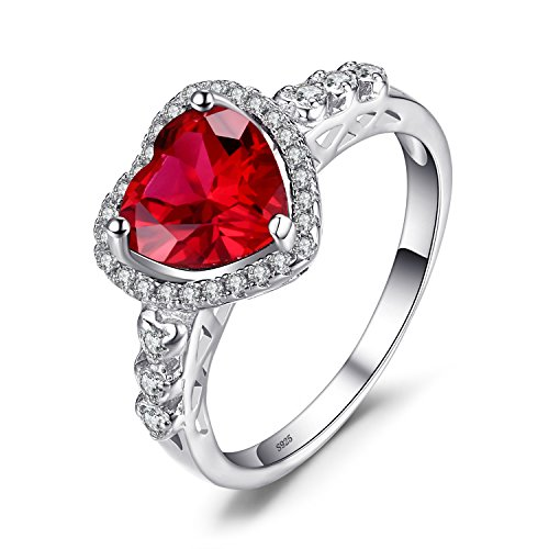 JewelryPalace Heart Of Ocean 2.7ct Created Red Ruby Love Forever Halo Promise Ring 925 Sterling Silver Size 9 ()