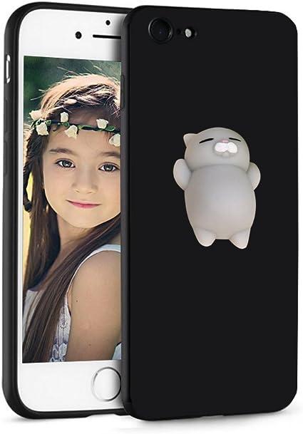 iPhone 8 Custodia iPhone 7 Custodia ,Veotech 3D Spremere gatto squishy solft silicone Cartone animato TPU Morbido Custodia Cover Custodia Silicone ...