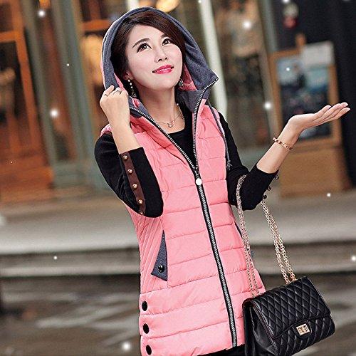 インフレーションコットンはちみつ秋冬フード付ロングベスト_pink_XXXL(着丈69cm、胸100cm、肩幅37cm)