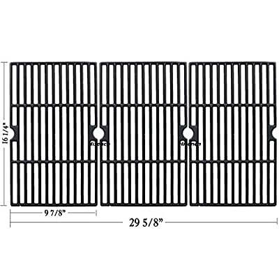 Hisencn Matte Cast Iron Cooking Grid Grates Replacement for Uniflame GBC1059WB, Uniflame GBC1059WE-C, Backyard Grill BY12-084-029-98 and Other Gas Grill Models