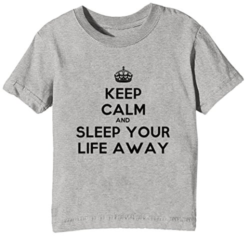 Erido Keep Calm and Sleep Your Life Away Niños Unisexo Niño Niña Camiseta Cuello Redondo Gris Manga Corta Todos Los Tamaños Kids Unisex Boys Girls T-Shirt ...