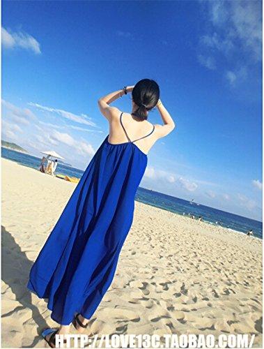Bleu Royal Rose Marine En Mousseline De Soie Rouge Solide Lâche Robe De Plage Soleil Maxi Longue Douce Casual Bleu