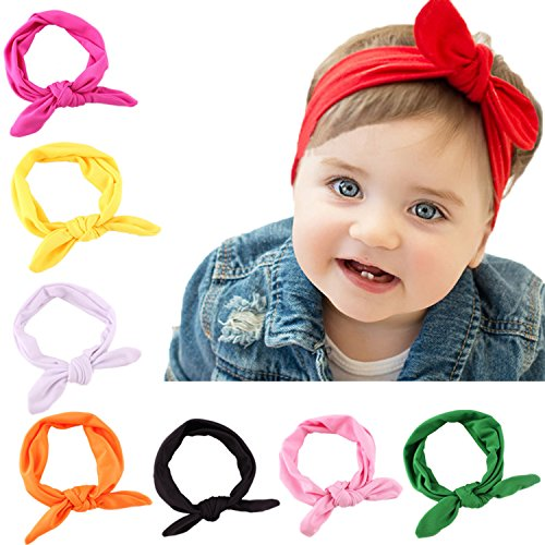 Hip Mall 8pcs Baby Girls Toddler Bow Headbands Turban Knot Rabbit Hairband Headwear (Red,Hot Pink,Yellow,White,Orange,Black,Pink,Green)