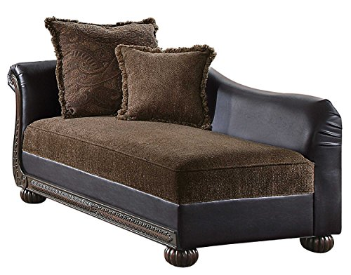 - Homelegance Grand Isle Traditional Style Vinyl Chaise, Brown