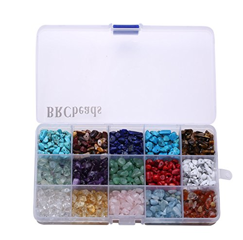 Gemstone Beads, BRCbeads Natural Chips Irregular 15 Color Assorted Box Set Loose Beads 7~8mm Crystal Energy Stone Healing Power for Jewelry Making(Plastic Box is Included) ()