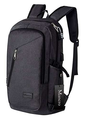 Anti Theft Business Laptop Backpack with USB Charging Port by Mancro Black