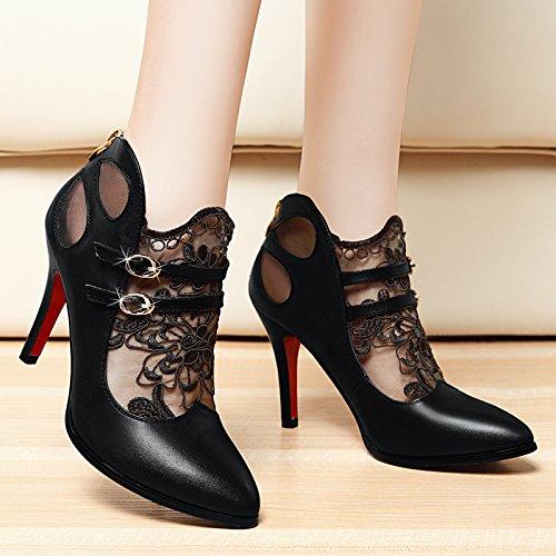 KHSKX-La Primavera De Nuevo Las Mujeres Zapatos De Tacones Altos Tacon Fino Encaje Señaló Shallow Boca Sola Marea Zapato Zapatos De Cuero De Las Señoras black