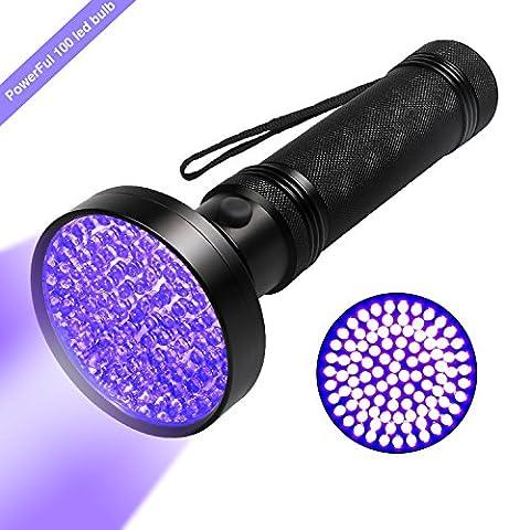 UV Blacklight Flashlight, Hinmay Super Bright 100 LED # 1 Best Powerful Black Light Flashlight 395NM Ultraviolet Urine Detector Flashlight for Home & Hotel Inspection, Pet Urine & Stain - Long Wave Uv Lamp