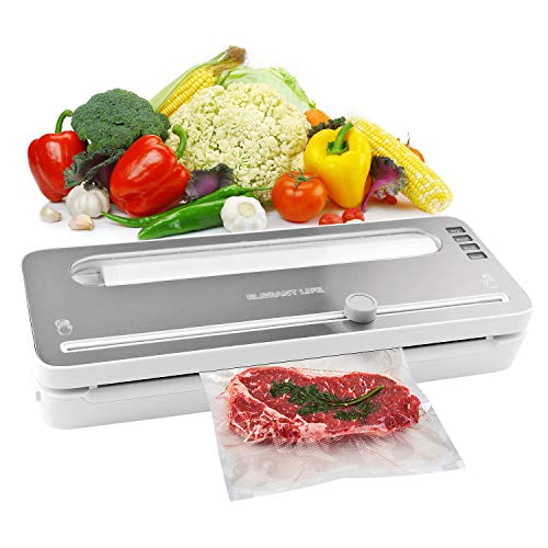 Vacuum Sealer Machine, Elegant Life Automatic Vacuum Air Sealing System with BPA Free Bag Roll for Food Save and Built-in Cutter, Dry and Moist Food Modes, Led Indicator Lights