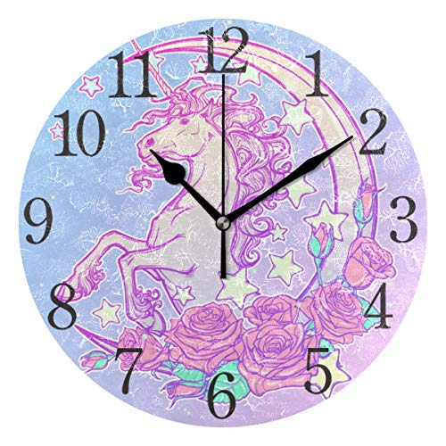 senya Silent Non Ticking Round Wall Clock, Pastel Goth Unicorn Home Decor Battery Operated for Living Room, Kitchen, Bedroom