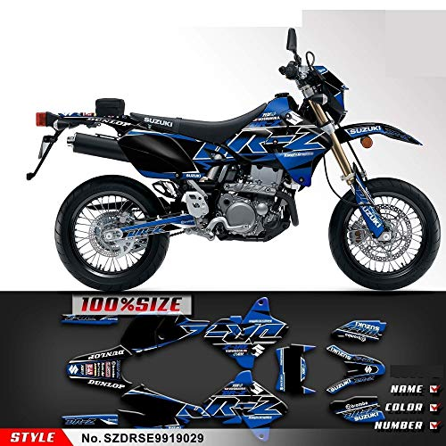 Kungfu Graphics Custom Decal Kit for Suzuki DRZ400 SM DRZ400SM Supermoto 1999 2000 2001 2002 2003 2004 2005 2006 2007 2008 2009 2010 2011 2012 2013 2014 2015 2016 2017 2018 2019, Black