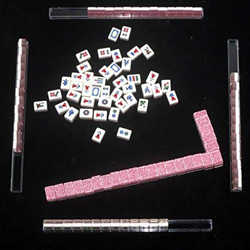 NuoEn Mahjong Traditional Chinese Version Game Set Portable 144 Tiles Acrylic Material Mah-Jongg Travel Family Leisure Time Creative Decompression Gift Crystal Luster ( Color : Pink )