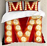 Letter M King Size Duvet Cover Set by Ambesonne, Vintage Alphabet Collection of Old Movie Theaters Casinos Retro Type, Decorative 3 Piece Bedding Set with 2 Pillow Shams, Vermilion Yellow Black