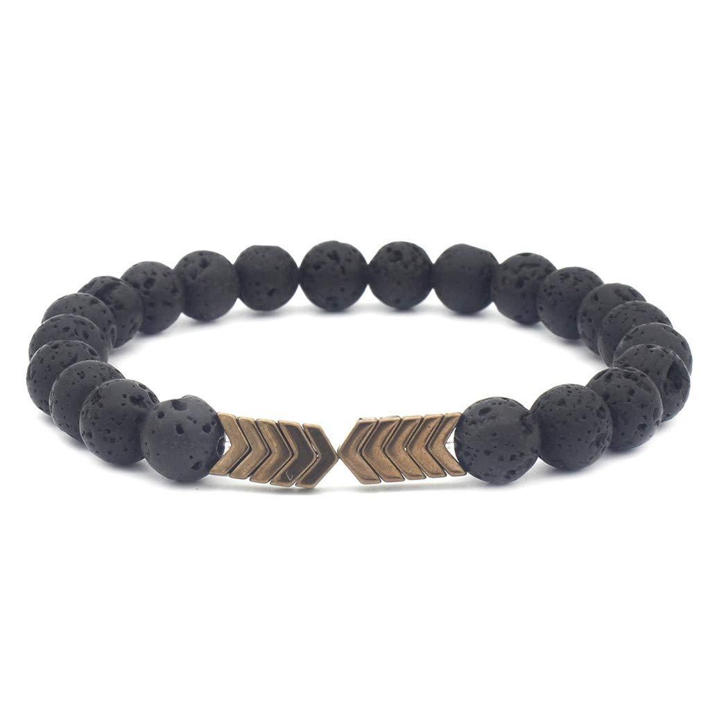 Goddesslili Stone Bracelet for Men Women Teen Girls Mom Metal Arrow Volcanic Natural Stone Retro Wedding Engagement Anniversary Jewelry Gift Under 5 Dollars