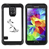 Be-Star Unique Pattern Anti-Skid Hybrid Impact Shockproof Case Cover For SAMSUNG Galaxy S5 V / i9600 / SM-G900F / SM-G900M / SM-G900A / SM-G900T / SM-G900W8 ( Football Player Soccer Minimalist White )