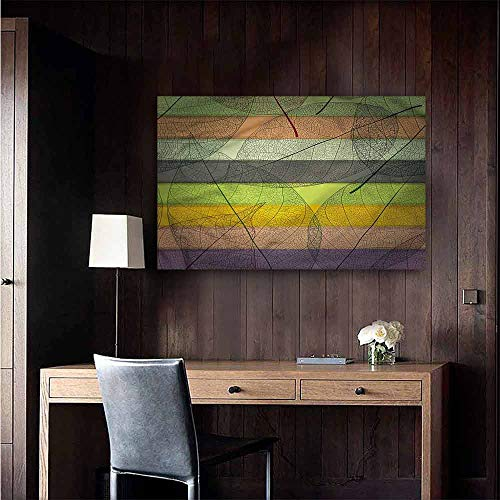 Gabriesl Waterproof Art Wall Paper Poster Modern Colorful Stripes and Leaves Window Wall Sticker Size : W20 x H16