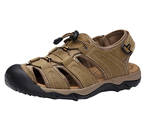 SK Studio Men's Sandals Athletic Sport Leather Sandal Close-Toe Beach Shoes Khaki RR228up