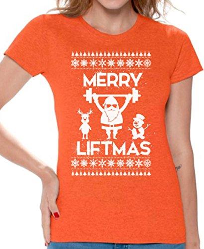 We Will Rock You Costumes Ideas (Awkward Styles Merry Liftmas Shirt Christmas Lifting Shirt for Women Ugly Xmas Gifts Orange XL)