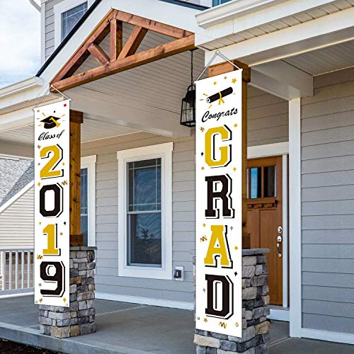 MORDUN Graduation Banners 2019 Congrats Grad - Graduation Party Decorations Supplies - Hanging Flags Porch Sign Outdoor Home Door Décor - Black Gold White]()
