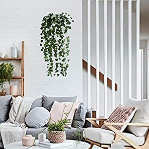 HO2NLE 6 Feet 4PCS Artificial English Ivy Leaves Greenery Garland Fake Hanging Plants Faux Foliage Garden Wall Stairway Party Wedding Outside Decorations 5