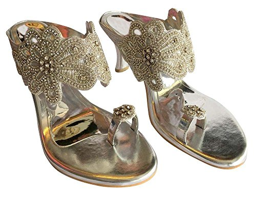 Indian Heel Style Embroidered High Womens Sandals N Dimanate Shoes Jutti Bridal Step 8OcqwH1T1