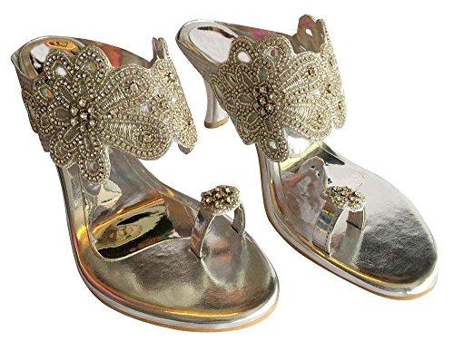 Style chaussures haut dimanate Mariée jutti brodé sandales N Étape Femme indien talon 5qIwAFfS