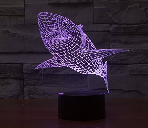 Household Decoration (3D Lamp Table Night light Shark Shape Gift Acrylic Furniture Decorative colorful 7 color change household Desk)
