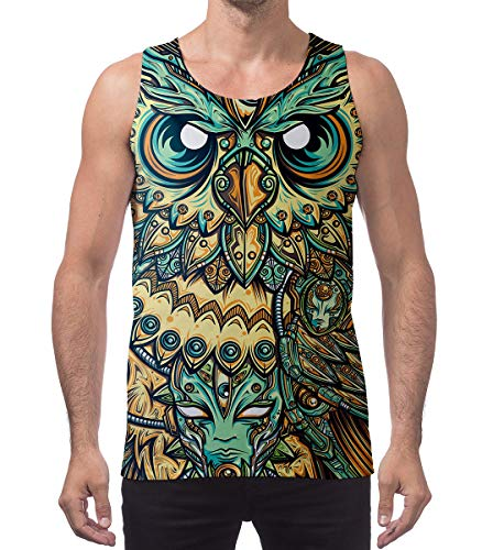 (Belovecol Mens Graphics Tank Top Funny 3D Eagle Printed Patterns Tees Cool Sleeveless Workout Beach Casual T-Shirts)