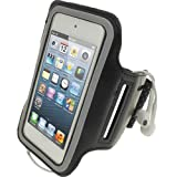 igadgitz Black Reflective Anti-Slip Neoprene Sports Gym Jogging Armband for Apple iPod Touch iTouch 5th Generation 32GB 64GB