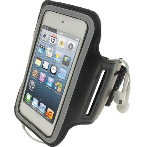 iGadgitz U2040 Neoprene Sports Armband Compatible with Apple iPod Touch 5th 6th 7th Gen -Black