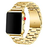 Apple Watch Band 42mm Premium Stainless Steel Metal Apple Watch Bands iWatch Bands Apple Watch Band Replacement for Apple Watch Series 1 Series 2 Series 3 Libra & Gemini (Gold)