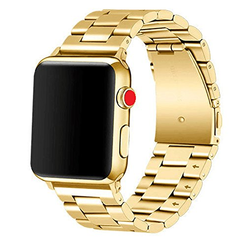 Apple Watch Band 42mm Premium Stainless Steel Metal Apple Watch Bands iWatch Bands Apple Watch Band Replacement for Apple Watch Series 1 Series 2 Series 3 Libra & Gemini (Gold) 316l Stainless Steel Band
