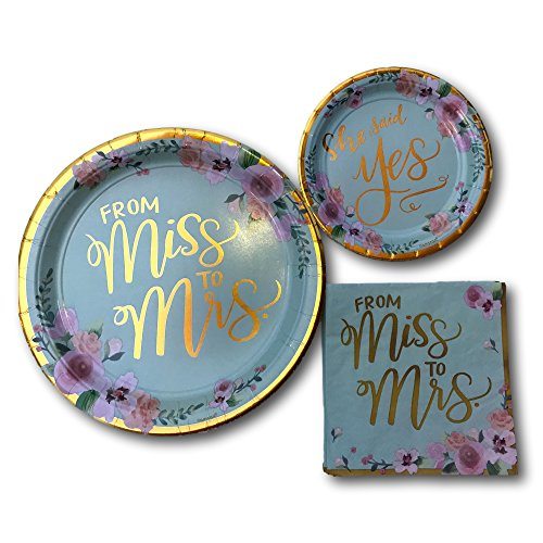 Miss to Mrs Bridal Wedding Shower Paper Plates and Napkins Party Pack Bundle - Disposable Tableware Set Includes From Miss To Mrs Dinner Plates - Dessert Plates and Napkins