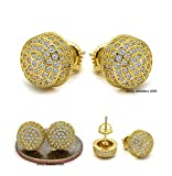 MENS 18K YELLOW GOLD FINISH CUBIC ZIRCONIA CZ SCREW BACK HIP HOP 10mm ROUND STUD EARRINGS (Gold)