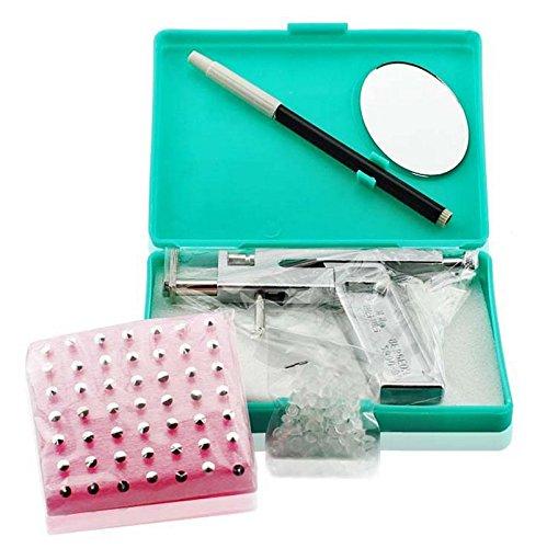 Ear Lips Nose Body Piercing Gun Pierce Tool Beauty Kit Set Set with 98pcs Steel - Kit Nose Home Piercing