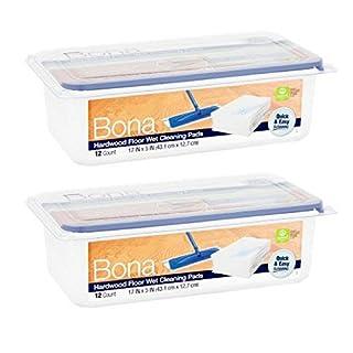 Bona Hardwood Floor Wet Cleaning Pads, 12 count - 2 Pack