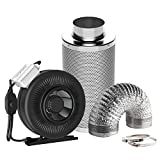 VIVOSUN 6 Inch 440 CFM Inline Fan with Speed Controller, 6'' Carbon Filter and 8 Feet of Ducting Combo for Grow Tent Ventilation