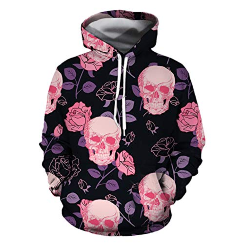 NIUQI Mens Casual Scary Halloween Lover 3D Print Party Long Sleeve Hoodie Top Blouse]()