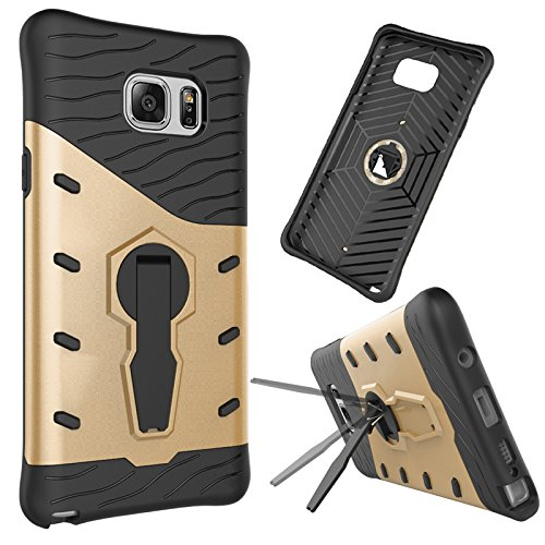 Galaxy Note 5 Case, SinYong [Silicone Air-cushioned Shock Absorption Shatterproof] Full Protection [Multifunction] Kickstand Protective Case for Samsung Galaxy Note 5 (Gold)