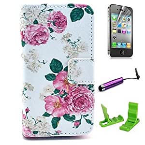 WQQ Beautiful Rose Flower Pattern PU Leather Case with Screen Protector and Stylus for iPhone 4/4S