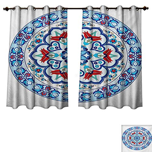 Antique Blackout Thermal Backed Curtains for Living Room Ottoman Turkish Style Art with Tulip Period Ceramic Floral Elements European Print Customized Curtains Multicolor W63 x L45 inch ()