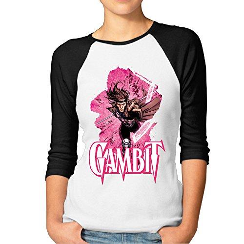 ElishaJ Women's Raglan Baseball T Shirt SuperGambit Black Size M (Gambit Best Of New Orleans)