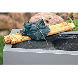Bamboo Accents Zen Garden Water Fountain Spout, 12 Inch Base with Frog Figurine, Includes Submersible Pump Kit, Great for Outdoor Relaxation.