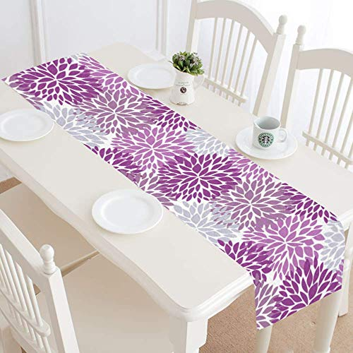 InterestPrint Dahlia Pinnata Flower Purple and Gray Table Runner Cotton Linen Home Decor for Home Kitchen Wedding Party Banquet Decoration 16 x 72 Inches