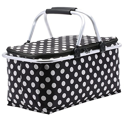 Picnic Basket, SUROY Insulated Folding Collapsible Market 600D Oxford Zip Closure Basket with Carrying Handles for Outdoor Picnic (Black Spots)