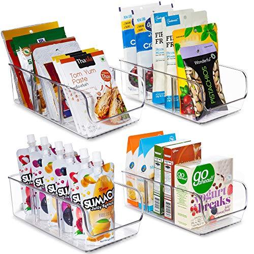 YIHONG Food Packet Organizer Bins for Pantry Organization, 4 Pack Plastic Clear Storage Bins for Storing Seasoning…