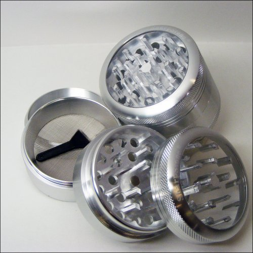 Sharpstone Herb Grinder Silver Clear Top and a Cali Crusher Press (Herb Grinder Press)