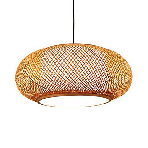 LITFAD Antique Lantern Pendant Lighting Rattan Single Light Weaving Natural Wooden Ceiling Hanging Light Beige Ceiling…